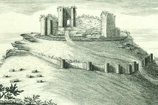 Detail of an engraving of Beeston Castle in 1727, by Samuel and Nathaniel Buck