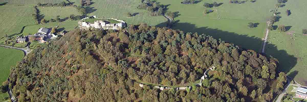 Aerial view of Beeston Castle, looking north. The curtain wall of the outer ward is just visible among the trees
