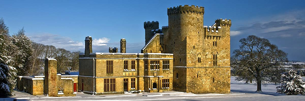 Belsay Castle and attached early 17th-century domestic wing, in deep snow