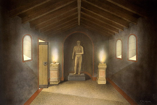 Reconstruction drawing of Benwell Roman Temple