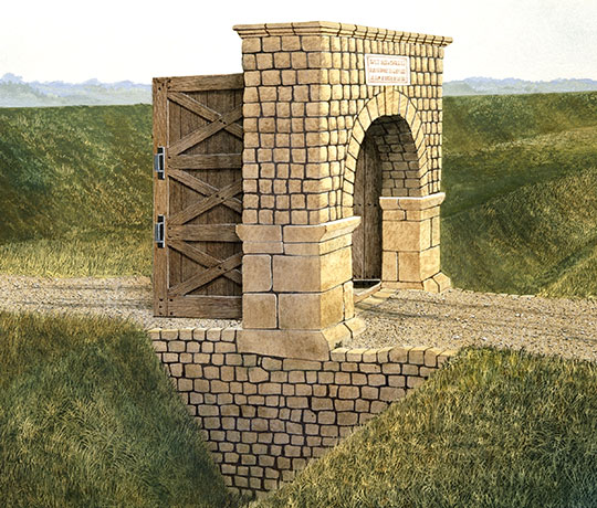 Benwell Vallum causeway reconstruction illustration showing stone built archway and wooden gate