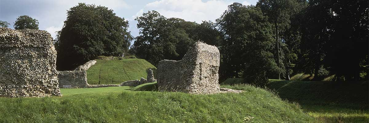 View across the ruins of Berkhamsted Castle towards the motte