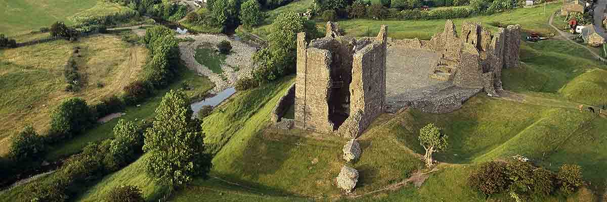 Aerial view of Brough Castle, looking north-east