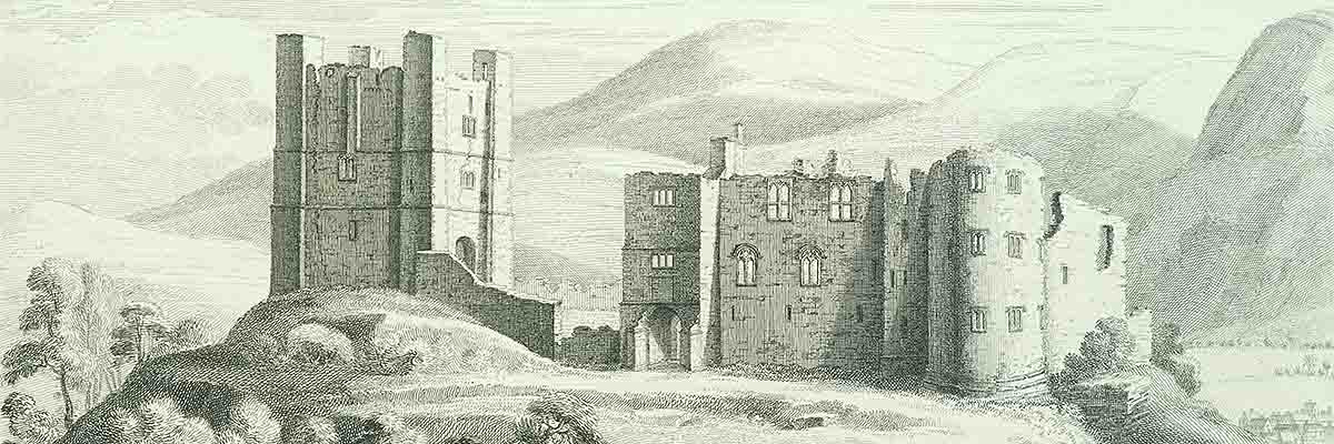 Engraving of Brough Castle in 1739 by Samuel and Nathaniel Buck in 1739. The glass and roofs have gone and the stables have disappeared but most of the walls still stand to their full height