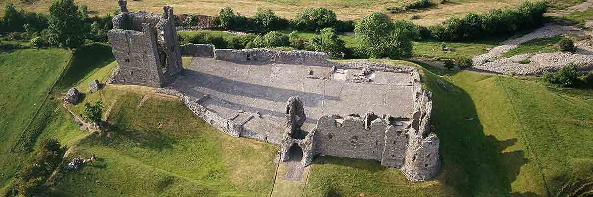 Aerial view of Brough Castle, showing the outline of the Roman fort Verteris
