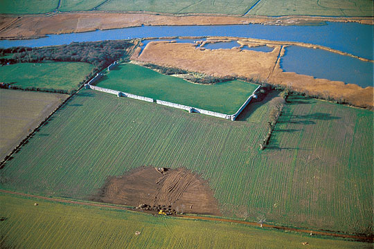 An aerial view showing the impressive walls of Burgh Castle Roman Fort