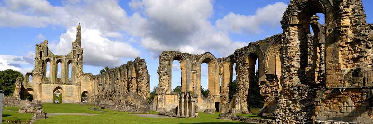 Las ruinas de la iglesia de la abadía, mirando hacia el oeste