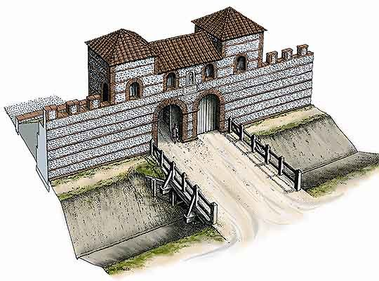 A reconstruction drawing of the south gate in the 3rd century AD