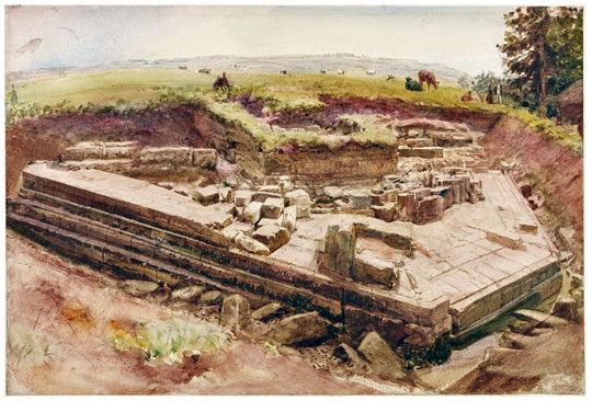 1860s watercolour painting showing Chesters Bridge Abutment under excavation with cows grazing in field beyond