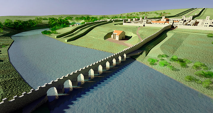 Digital reconstruction of the first Roman bridge at Chesters