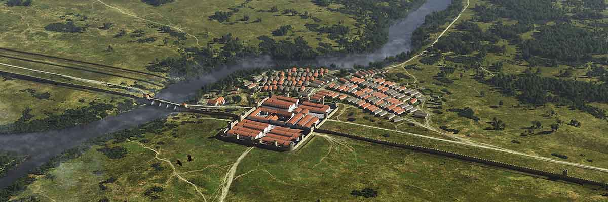 A reconstruction of the fort and civilian settlement at Chesters as they may have appeared in about AD 200. The settlement is surrounded by fields and a passing river.
