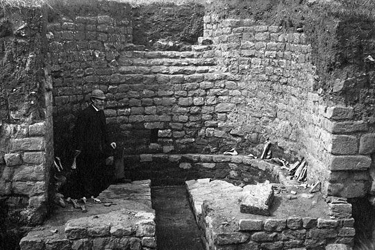 19th-century photograph of the excavation of the external baths at Chesters Fort