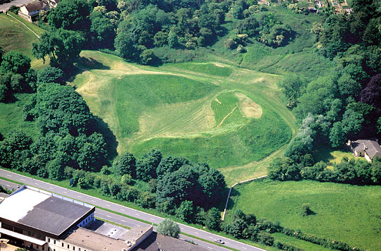 Low aerial view of the Cirencester amphitheatre