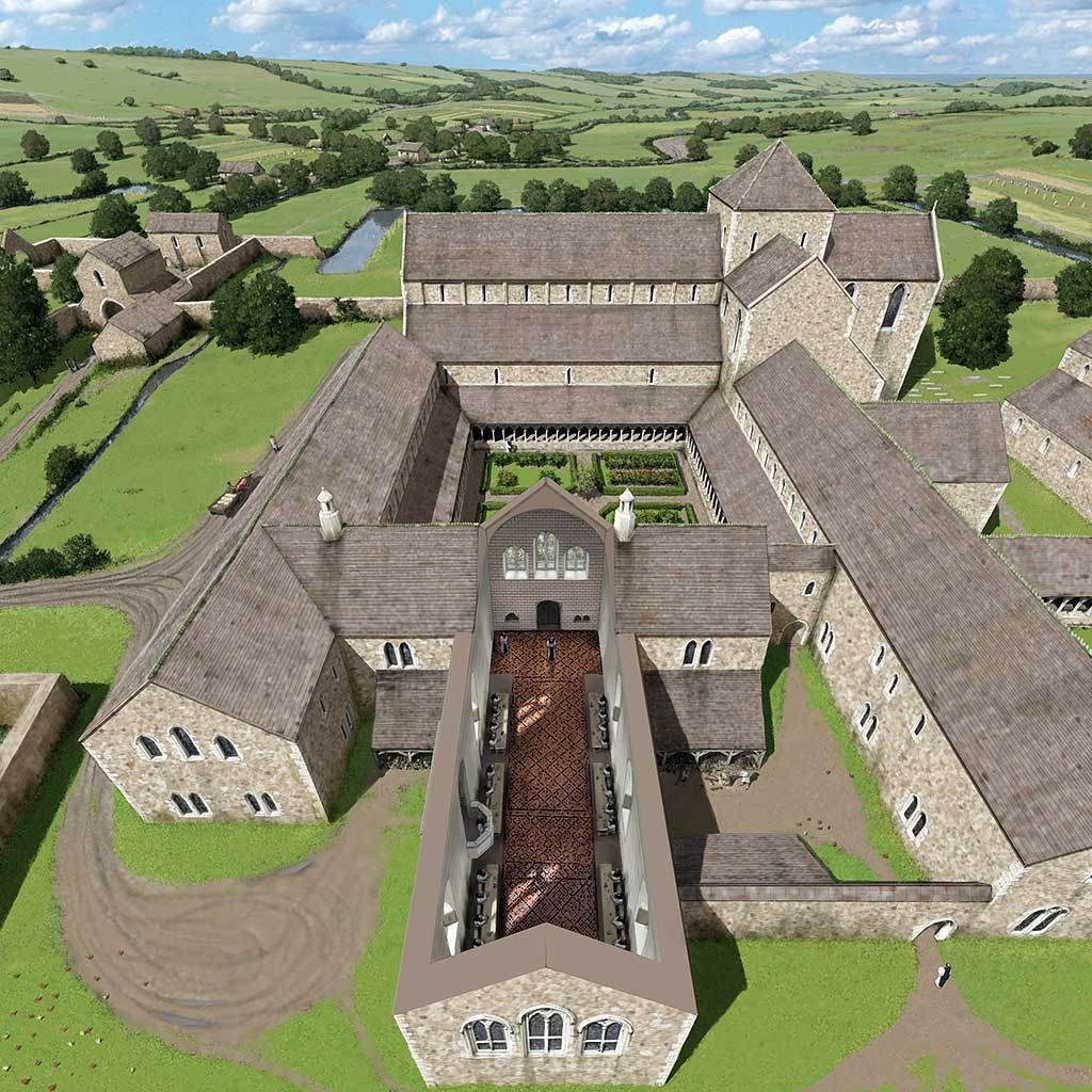 A reconstruction of Cleeve Abbey showing how it would have looked in the 13th century