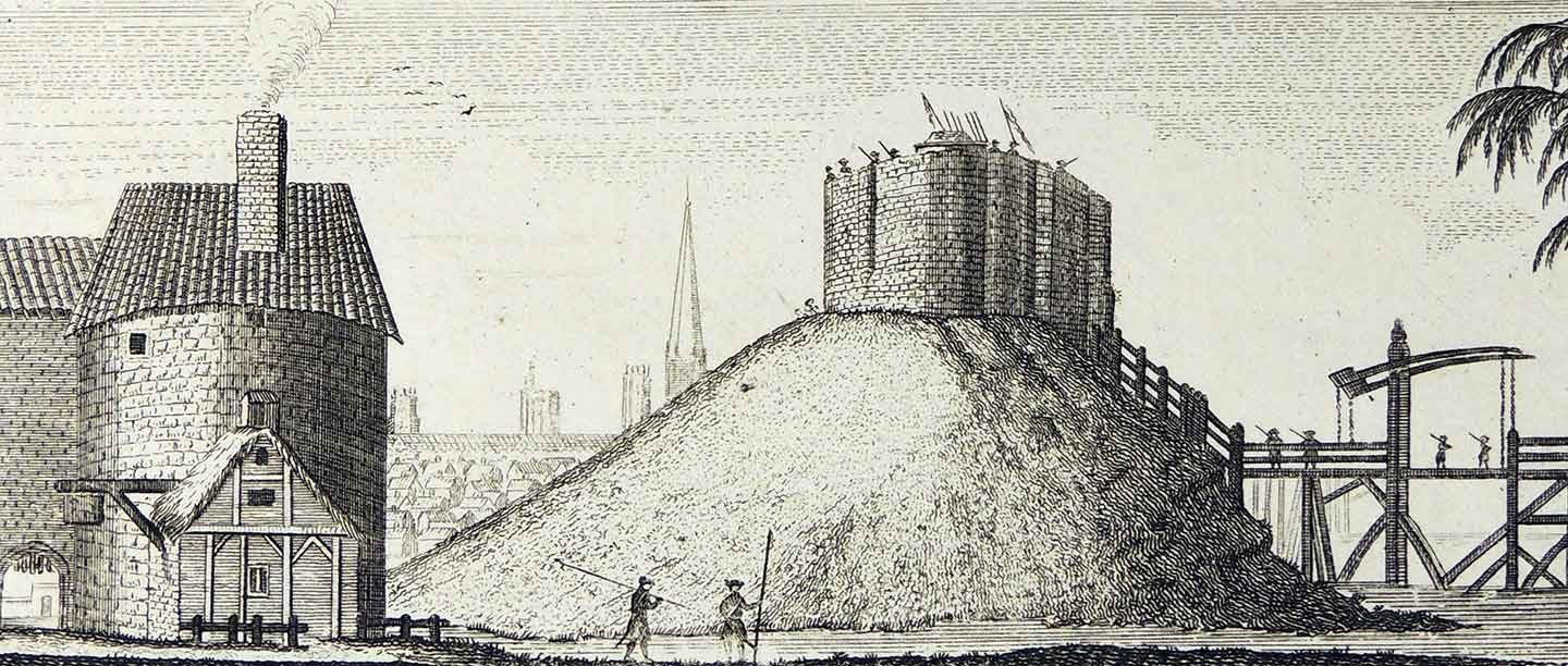 Sketch illustration of motte and bailey castle, showing bridge over moat leading to the motte with stone tower on top
