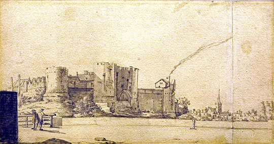 Sketch of York Castle from the Mill Bank by Francis Place, 1699
