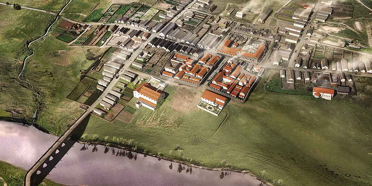Reconstruction of Corbridge town at its most extensive