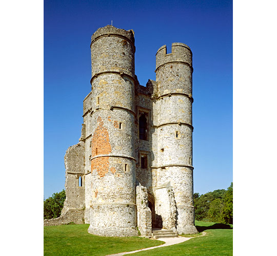 The twin round towers of the imposing gatehouse of Donnington Castle