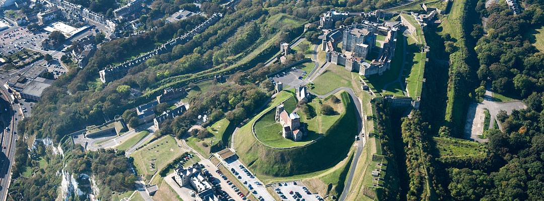 Aerial view of Dover Castle showing the various phases of the hilltop site