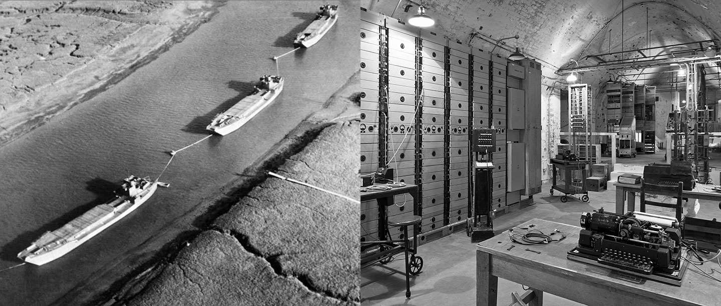 The repeater station at Dover Castle (left); fake landing craft in an estuary in south-east England, 1944 (right)