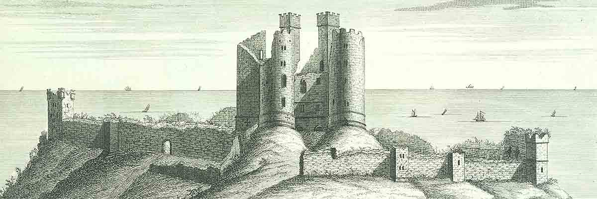 The south west view of Dunstanburgh Castle in Northumberland' by Samuel and Nathaniel Buck, 1720. Though inaccurate in many ways, the engraving does show the west curtain wall almost intact, and is probably reliable in this respect