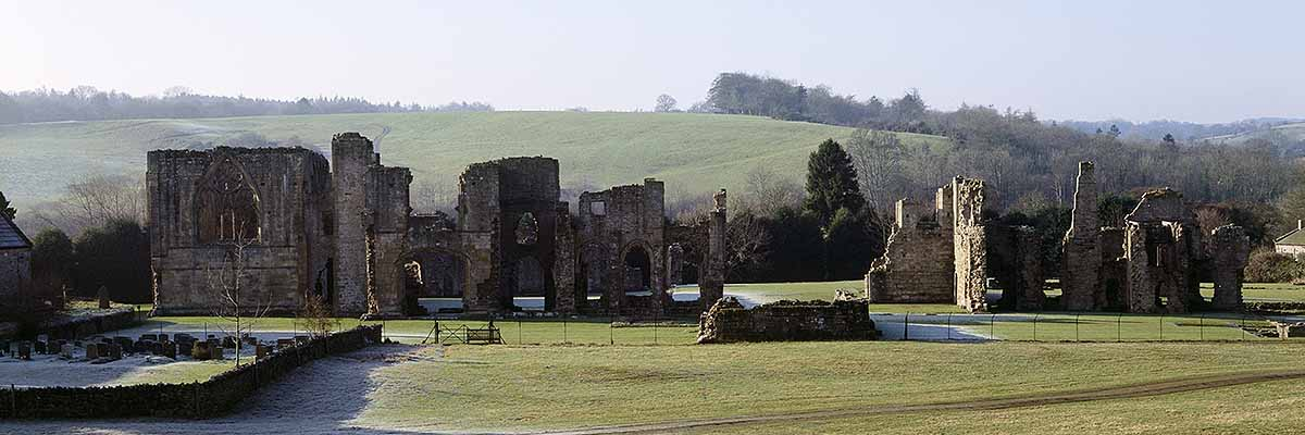 View from the east across the ruins of Easby Abbey