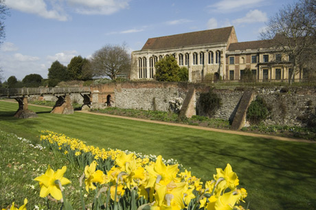 Eltham Palace with south moat and stone bridge during spring