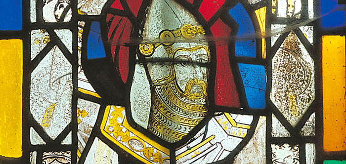 Stained-glass head of a knight (c 1370), said to represent Sir Thomas Hungerford, from St Leonard's Church, Farleigh Hungerford