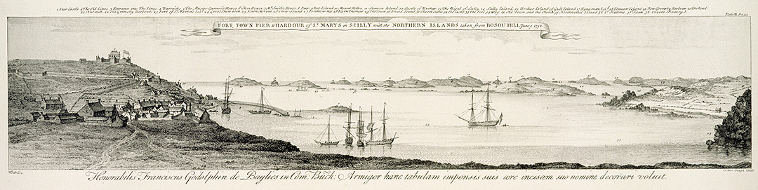 This engraving of a drawing dated 1752 shows the Garrison Walls and Star Castle on the left, with a view of some of the northern Isles of Scilly in the background
