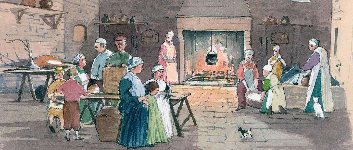 An artist's impression of the kitchen at Goodrich Castle in the late 13th century