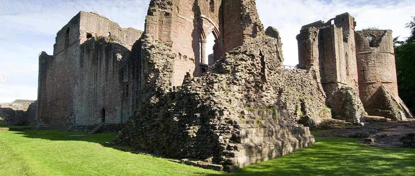 Goodrich Castle from the north-west, with the tower that bore the brunt of the Civil War siege in the foreground