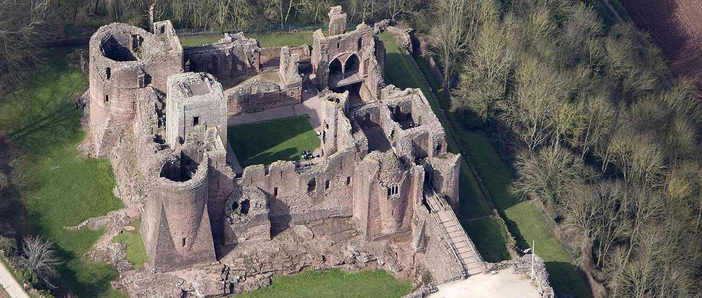 Aerial view of Goodrich Castle