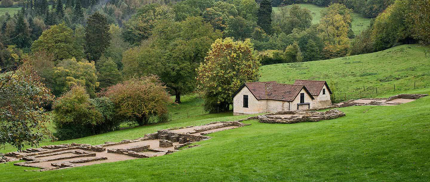 A distant view of Great Witcombe Roman Villa