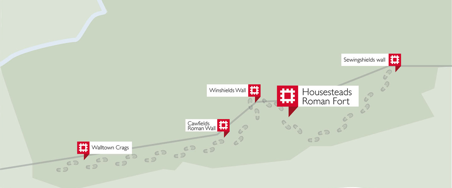 A map showing sites worth visiting along the Housesteads section of Hadrians Wall