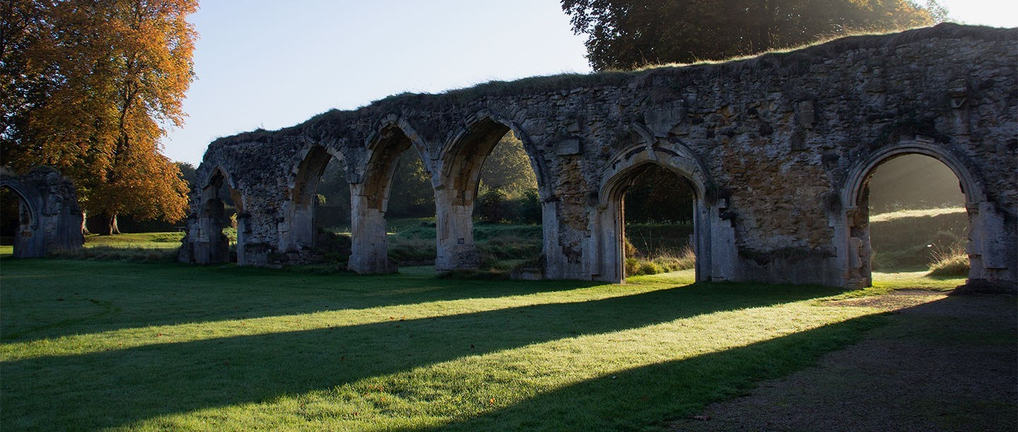View of early morning sunlight shining through vaulted archways onto dewy grass