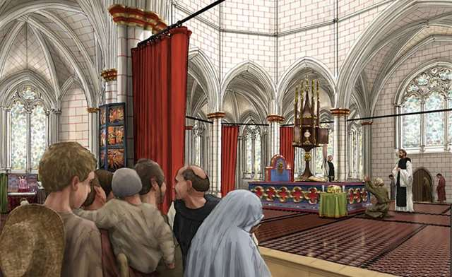 An artist's impression of an abbey church, with pilgrims waiting in foreground and a shrine visible in middle distance