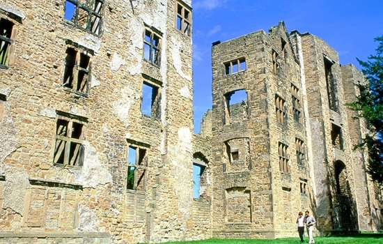 View of Hardwick Old Hall in the sunshine