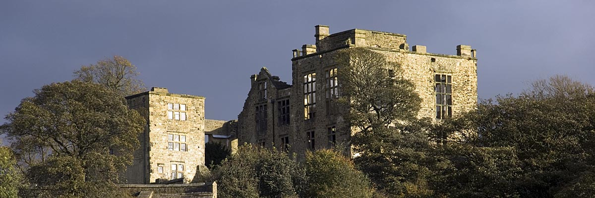 Image of Hardwick Old Hall set against a blue sky
