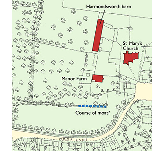 Map of Harmondsworth in 1894 with St Mary's Church, Manor Farm and the barn highlighted as well as the possible course of a moat