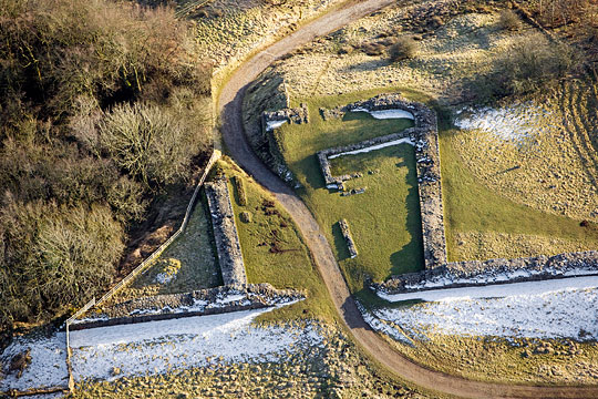 Aerial detail view of Harrows Scar milecastle