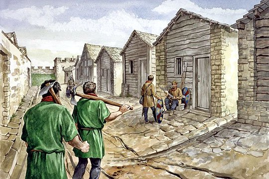 An artist's reconstruction of the barracks constructed after AD270 at Housesteads Roman Fort