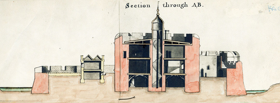 Section drawing of Hurst Castle, made in 1750, showing the original Tudor spiral stair and delicate roof cupola