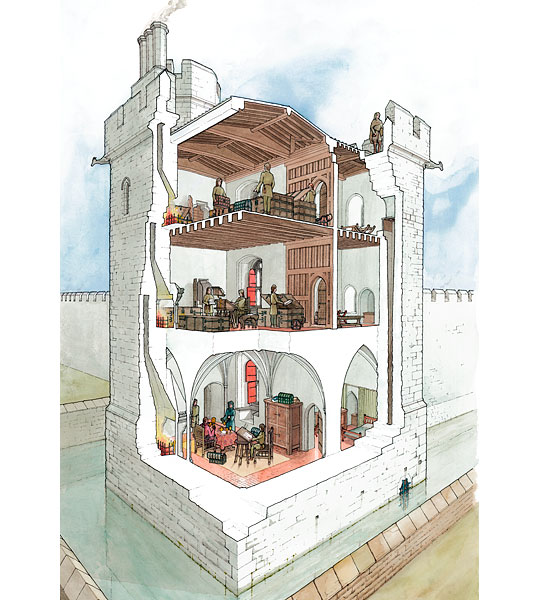 A cutaway reconstruction showing how the Jewel Tower may have looked in the late 14th century, surrounded by its moat