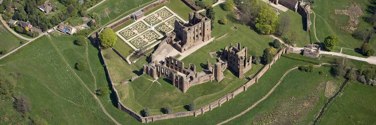 Aerial view of Kenilworth Castle from the south-west