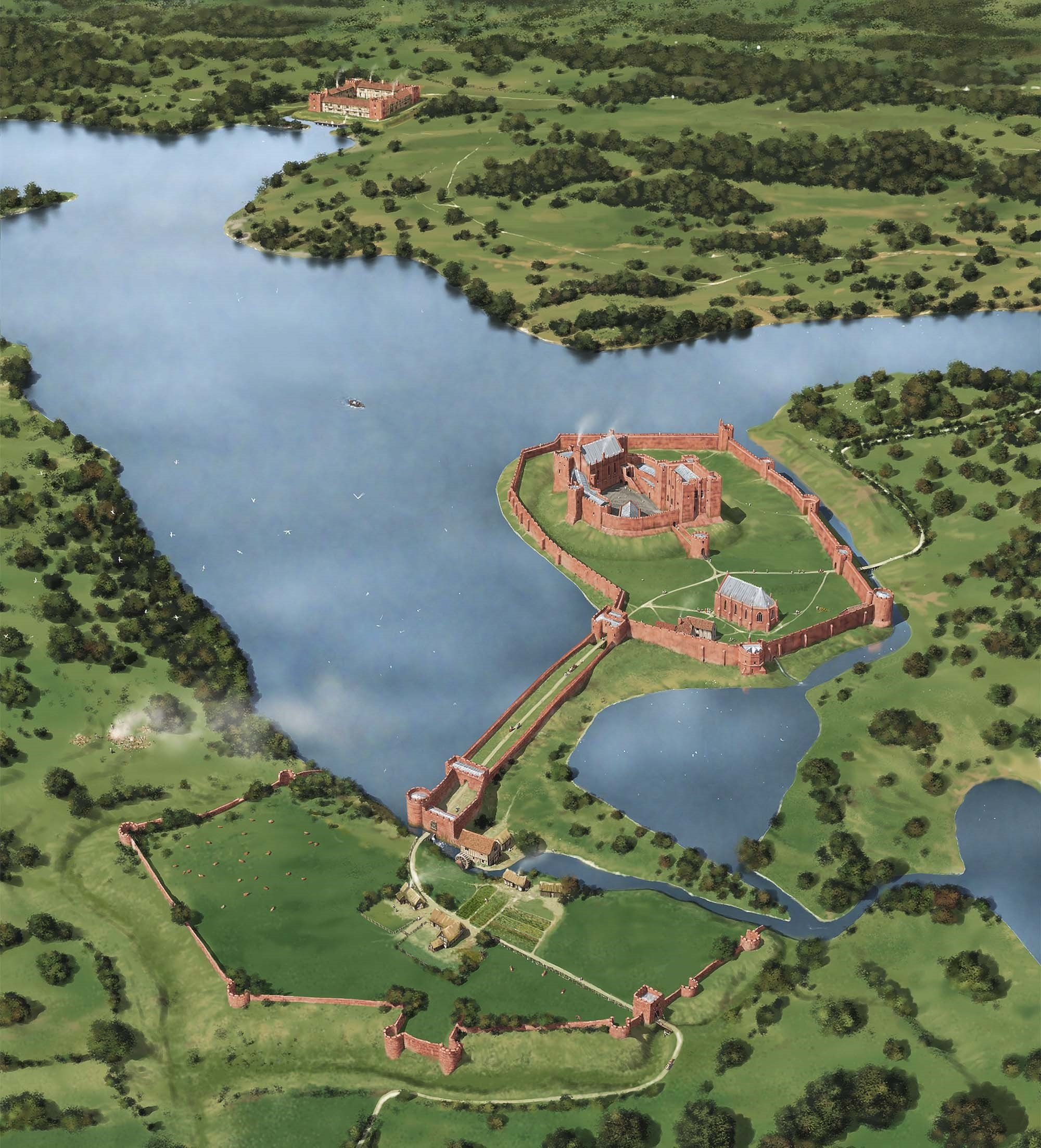 A reconstruction of Kenilworth Castle as it might have appeared in about 1420, showing John of Gaunt
