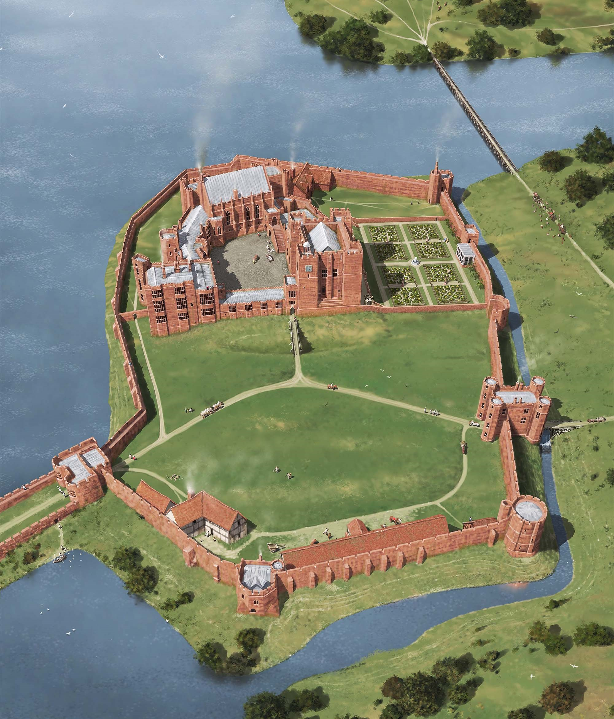 A reconstruction of Kenilworth as it may have appeared in 1575, after the Earl of Leicester's works