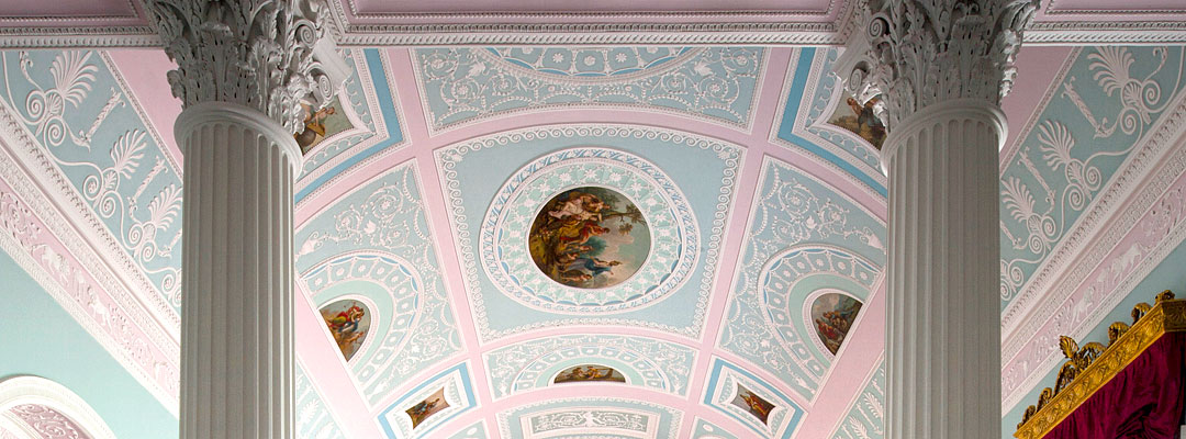 The Kenwood library colour scheme of white and pale blues and pink