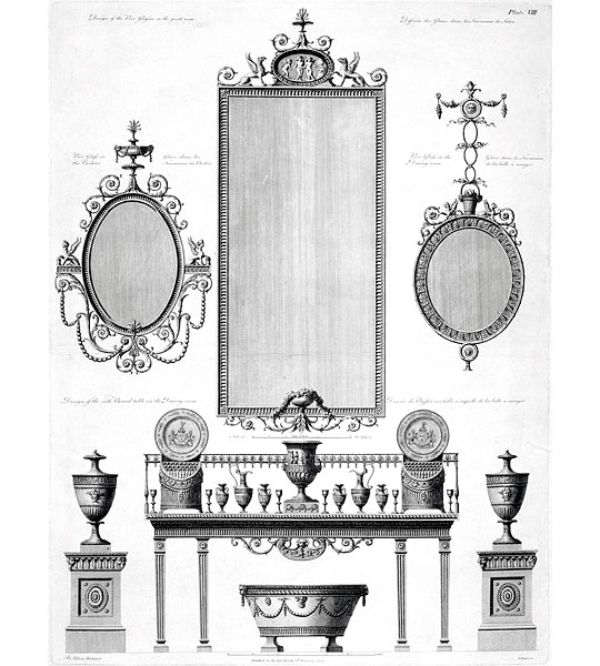 Engraving of Robert Adam's designs for furniture in the entrance hall at Kenwood