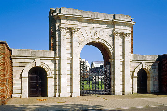 The imposing arches of King James Gate