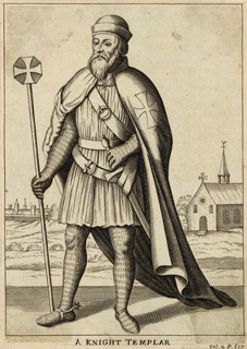 An artist's impression of a Knight Templar in the uniform of the order, as depicted in an engraving of the 17th or 18th century